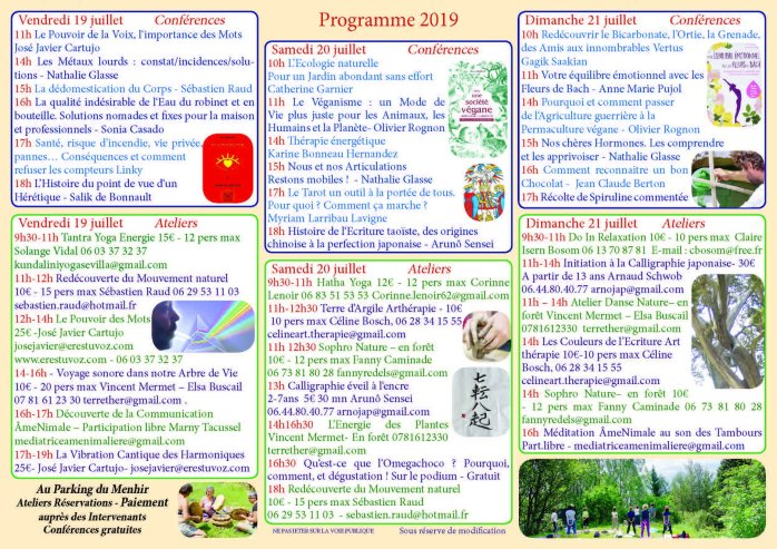 Programme Festival BioZen 2019 Font-Romeu