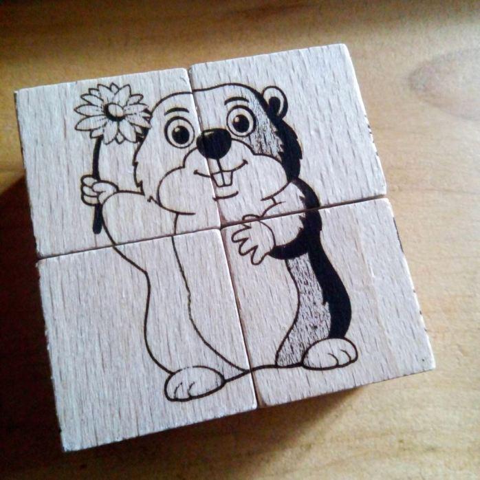Marmotte Puzzle en bois gravure style montagne