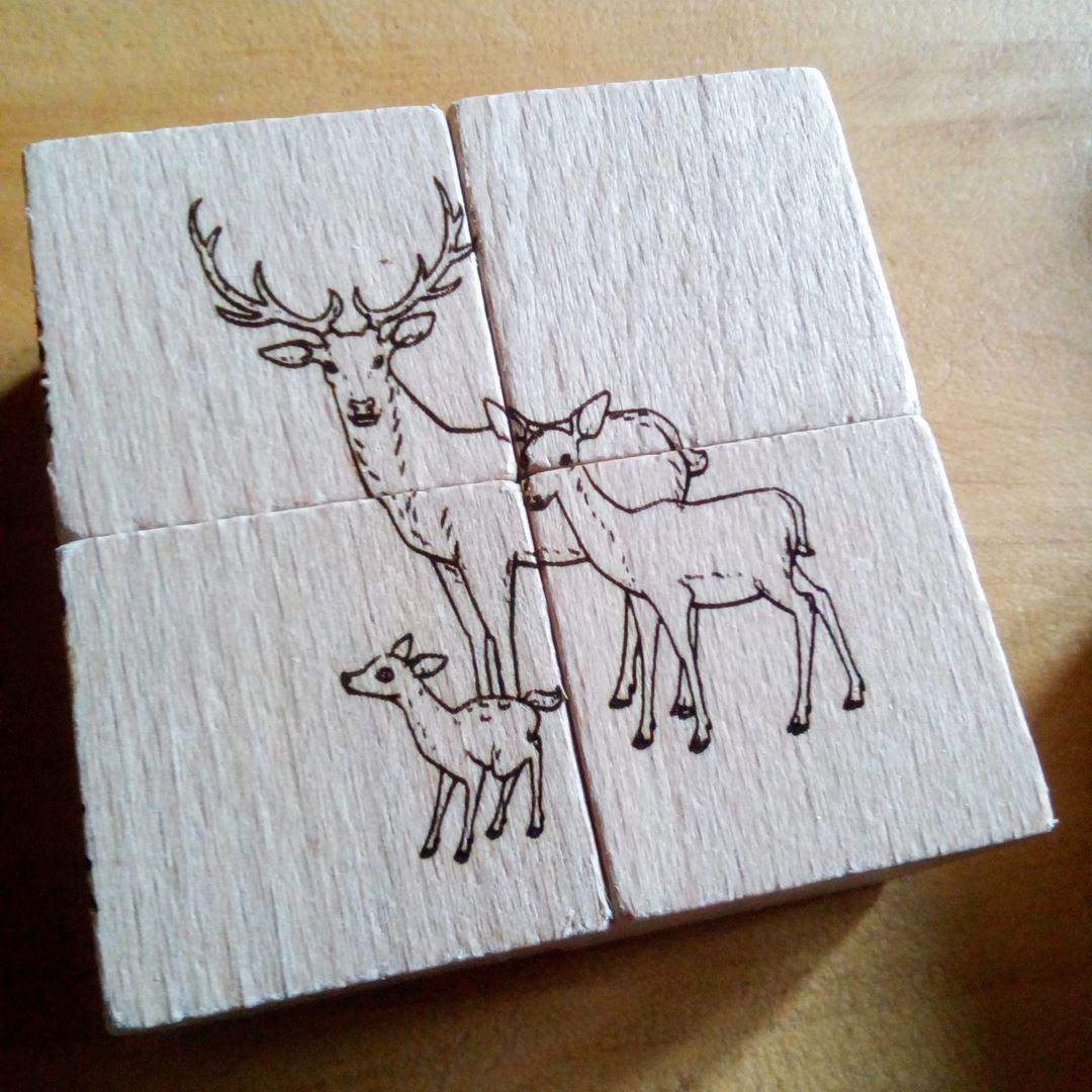Cerfs Puzzle en bois gravure style montagne