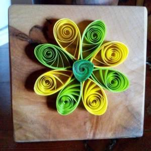 fleur quilling support bois erable