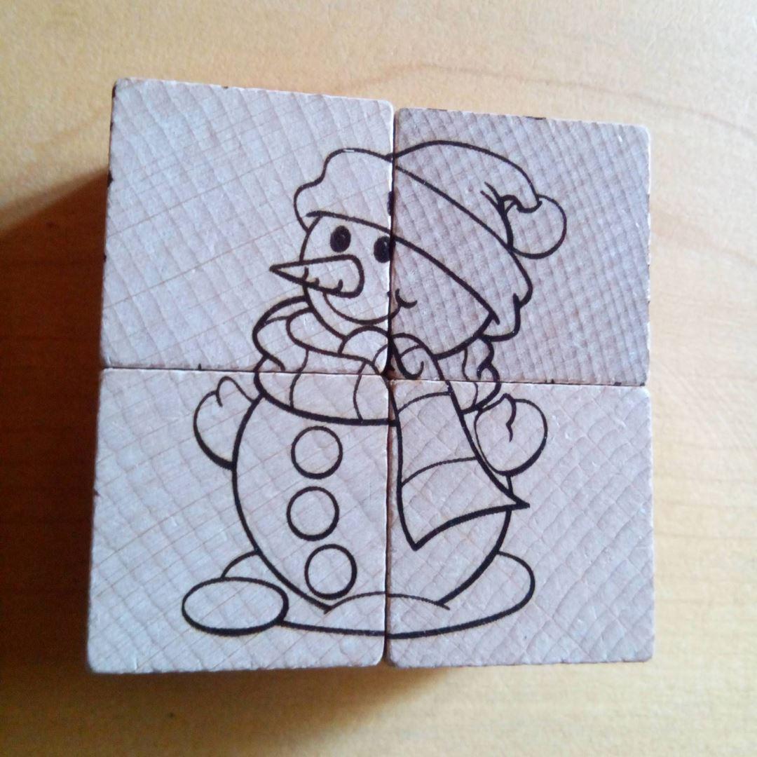 Bonhomme de neige Puzzle en bois gravure style montagne