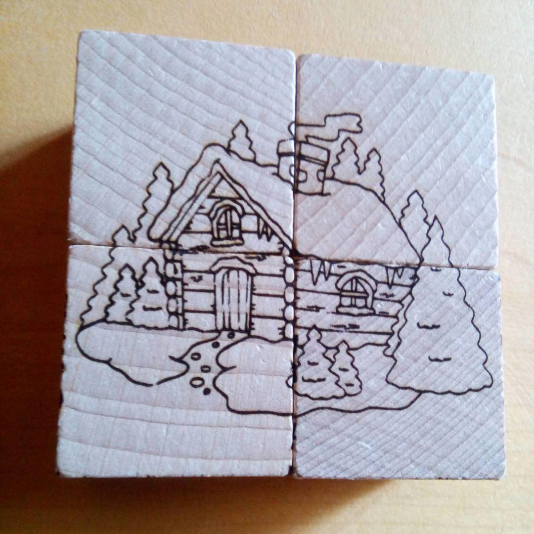 Chalet Puzzle en bois gravure style montagne